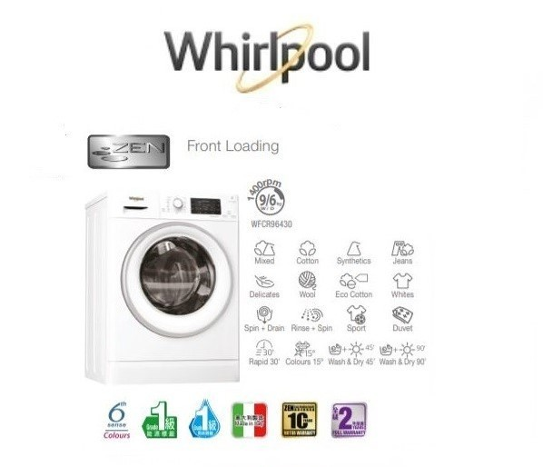 Whirlpool 惠而浦 WFCR96430 2合一 9公斤洗 / 6公斤乾 前置洗衣乾衣機 (備蒸氣抗菌) |
